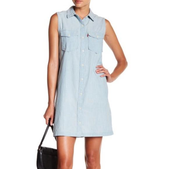 Levi's 70's Western Sleeveless Denim Shirt Dress
